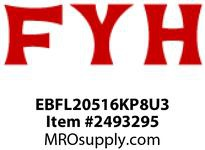 FYH EBFL20516KP8U3 OEM 1in ND SS 2B FL RE-LUBE GREASE FTG INSTALLED