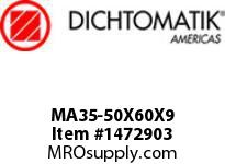 Dichtomatik MA35-50X60X9 ROD SEAL POLYURETHANE 92 DURO ROD SEAL METRIC