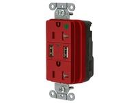 HBL_WDK SNAP8300USBR USB CHGR SNAP HG 20A125V DUP 3A5V PT RD