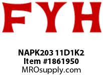 FYH NAPK203 11D1K2 PILLOW BLOCK-NORMAL DUTY ECCENTRIC COLLAR-HIGH TEMP CONTACT