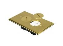 Orbit FLB-R1G-C-BR FLOOR BOX ROUND 1 GANG COVER W/ DUPLEX RECPT - BRASS