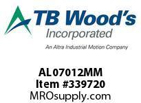 TBWOODS AL07012MM AL070X12MM L-JAW HUB