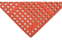 NoTrax 543S0023RD 543 Cushion-Tred Single 2X3 RED Cushion-Tred is made from a resilient rubber compound that can withstand many of the commonly found industrial chemicals cutting fluids oils and greases. A large hole drainage system faci