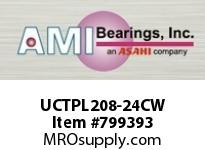 AMI UCTPL208-24CW 1-1/2 WIDE SET SCREW WHITE TAKE-UP SINGLE ROW BALL BEARING