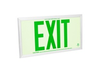 Fulham FLPL75SGG FireHorse Photoluminescent Exit Sign - 75 FT Visibility - Single Face - Green Letters - Green Frame