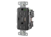 HBL_WDK USB8200AC5BK RCPT HG DUP 15A 125V 5A 5V USB PRT AC BK