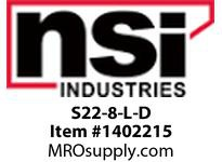 NSI S22-8-L-D UNINSULATED LOCKING SPADE TERMINAL 22-18 #8 STUD PK 125