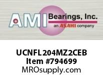 AMI UCNFL204MZ2CEB 20MM ZINC WIDE SET SCREW BLACK 2-BO COV SINGLE ROW BALL BEARING