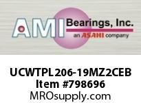 AMI UCWTPL206-19MZ2CEB 1-3/16 ZINC WIDE SET SCREW BLACK TA OPN/CLS COVERS SINGLE ROW BALL BEARING