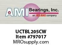 AMI UCTBL205CW 25MM WIDE SET SCREW WHITE TB PLW BL ROW BALL BEARING