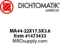 Dichtomatik MA44-22X17.5X3.6 PISTON SEAL PTFE WITH METAL SPRING PISTON SEAL METRIC