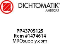 Dichtomatik PP43705125 SYMMETRICAL SEAL POLYURETHANE 92 DURO WITH NBR 70 O-RING STANDARD LOADED U-CUP INCH