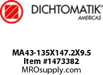 Dichtomatik MA43-135X147.2X9.5 ROD SEAL PTFE WITH METAL SPRING ROD SEAL METRIC