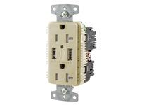 HBL_WDK USB20A5I RCPT DUP 20A 125V 5A 5V USB PORT A I