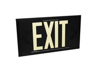 Fulham FLPL50DBS FireHorse Photoluminescent Exit Sign - 50 FT Visibility - Dual Face - Black Background - Silver Powder Coat