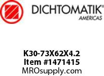 Dichtomatik K30-73X62X4.2 PISTON SEAL PTFE SQUARE CAP PISTON SEAL WITH NBR 70 DURO O-RING METRIC