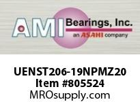 AMI UENST206-19NPMZ20 1-3/16 KANIGEN ACCU-LOC NICKEL NARR TAKE-UP SINGLE ROW BALL BEARING