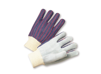 West Chester 100 Mens Knit Wrist Leather Palm Glove - Blue/Red stripe fabric back