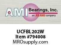 AMI UCFBL202W 15MM WIDE SET SCREW WHITE 3-BOLT FL ROW BALL BEARING