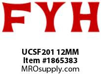 FYH UCSF201 12MM STAINLESS STEEL FLANGE UNIT SETSCREW LOCKING-STAINLESS INSERT