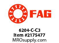 FAG 6204-C-C3 RADIAL DEEP GROOVE BALL BEARINGS