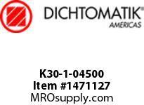 Dichtomatik K30-1-04500 PISTON SEAL PTFE SQUARE CAP PISTON SEAL WITH NBR 70 DURO O-RING INCH