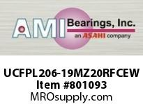 AMI UCFPL206-19MZ20RFCEW 1-3/16 KANIGEN SET SCREW RF WHITE 4 FLANGE CLS COV SINGLE ROW BALL BEARING