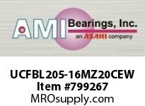AMI UCFBL205-16MZ20CEW 1 KANIGEN SET SCREW WHITE 3-BOLT FL COV SINGLE ROW BALL BEARING