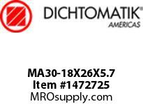 Dichtomatik MA30-18X26X5.7 ROD SEAL POLYURETHANE 92 DURO ROD SEAL METRIC