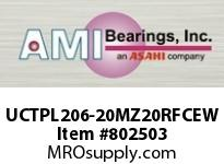 AMI UCTPL206-20MZ20RFCEW 1-1/4 KANIGEN SET SCREW RF WHITE TA OPN/CLS COVERS SINGLE ROW BALL BEARING
