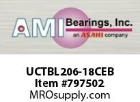 AMI UCTBL206-18CEB 1-1/8 WIDE SET SCREW BLACK TB PLW B SINGLE ROW BALL BEARING