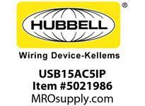 HBL_WDK USB15AC5IP RCPT DUP 15A 125V 5A 5V USB PORT AC IV