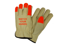 West Chester 990KOTT/XXL Fluorescent Orange Finger Tips w/Logo ^Watch Your Hands^ - 100g Thinsulate Lined Grain Cowhide Keystone Thumb Driver Glove - Select Grade
