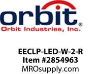 Orbit EECLP-LED-W-2-R LED TUBE EMER & EXIT COMBO WHT HSG2F RD LTRS