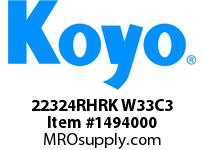 Koyo Bearing 22324RHRK W33C3 STEEL CAGE-SPHERICAL BEARING