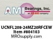 AMI UCNFL208-24MZ20RFCEW 1-1/2 KANIGEN SET SCREW RF WHITE 2- FLANGE CLS COV SINGLE ROW BALL BEARING