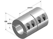 Climax G2MSCC-40-40 40mm X 40mm ID 2PC Metric Clamp Coupling STL BO