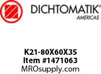 Dichtomatik K21-80X60X35 PISTON SEAL FIVE PIECE PISTON SEAL NBR/NBR IMPREGNATED FABRIC/POM METRIC