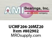 AMI UCMF206-20MZ20 1-1/4 KANIGEN SET SCREW STAINLESS 4 SINGLE ROW BALL BEARING