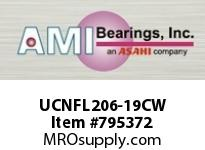 AMI UCNFL206-19CW 1-3/16 WIDE SET SCREW WHITE 2-BOLT SINGLE ROW BALL BEARING