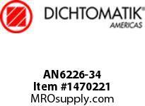 Dichtomatik AN6226-34 NU70R SYMMETRICAL SEAL AN6226 SERIES NITRILE 70 DURO SYMMETRICAL U-CUP INCH