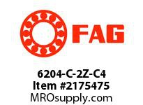FAG 6204-C-2Z-C4 RADIAL DEEP GROOVE BALL BEARINGS