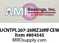 AMI UCNTPL207-20MZ20RFCEW 1-1/4 KANIGEN SET SCREW RF WHITE TA OPN/CLS COVERS SINGLE ROW BALL BEARING