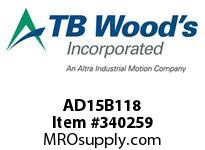 TBWOODS AD15B118 CLAMP HUB B C D 1.125DIA 1/4KW