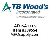 TBWOODS AD15A1316 AD15-AX1 3/16 FF COUP HUB