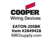 CPR-WDK EATON-20SBK EATON 20A ST No Mtg Screws & Wlplt BK