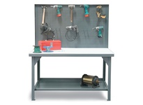 StrongHold T6036-PBB-UHMW Industrial Shop Table with Pegboard Back Wall 72x36x34 1 Shelves