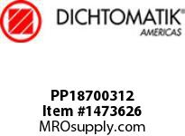 Dichtomatik PP18700312 SYMMETRICAL SEAL POLYURETHANE 92 DURO WITH NBR 70 O-RING STANDARD LOADED U-CUP INCH