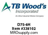 TBWOODS D75-6H BOLT OLD DESIGN BEFORE 7/95