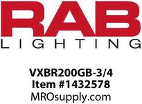 RAB VXBR200GB-3/4 VAPORPROOF 200 WALL BRK 4 BOX 3/4 BLACK GL GLOBE WIRE GD
